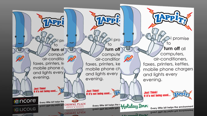 Zappit - Eco friendly Robot Mascot for Holiday Inn, Crowne Plaze and Encore Hotels
